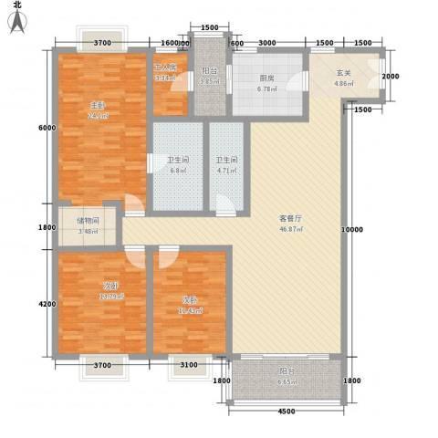 都汇豪庭3室1厅2卫1厨128.32㎡户型图