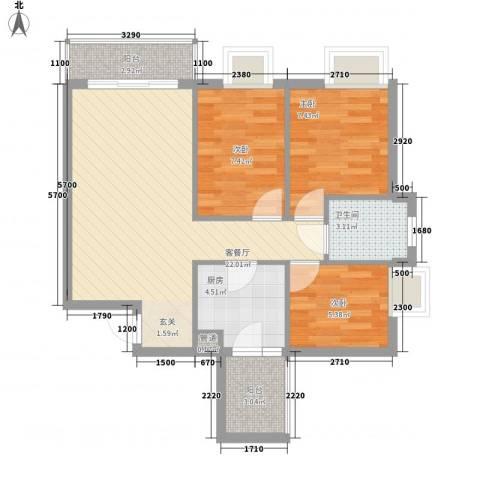 铂林国际公寓3室1厅1卫1厨80.00㎡户型图