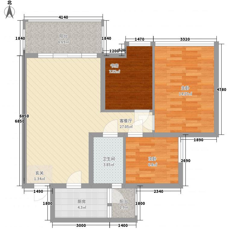 电台山小区31户型3室2厅2卫1厨