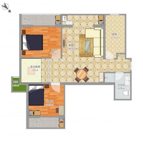 上东大道2室1厅1卫1厨100.00㎡户型图