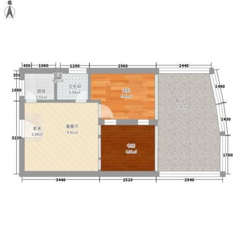 万泽国际2室1厅1卫1厨50.00㎡户型图