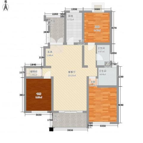 枫桥湾名邸3室1厅2卫1厨131.00㎡户型图