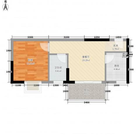 三正世纪新城1厅1卫1厨42.00㎡户型图