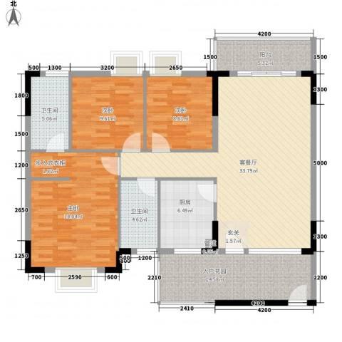 三正世纪新城3室1厅2卫1厨106.37㎡户型图