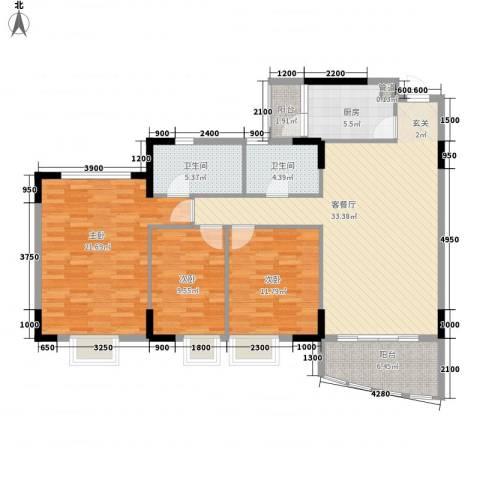 三正世纪新城3室1厅2卫1厨140.00㎡户型图