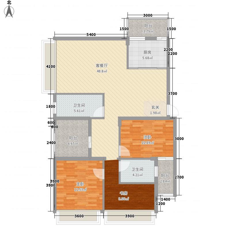 明都锦绣花园133.80㎡B1户型3室2厅2卫1厨