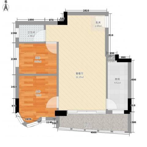 倚翠轩2室1厅1卫1厨65.00㎡户型图