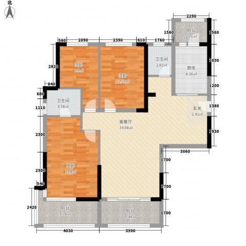碧桂园凤凰城3室1厅2卫1厨137.00㎡户型图