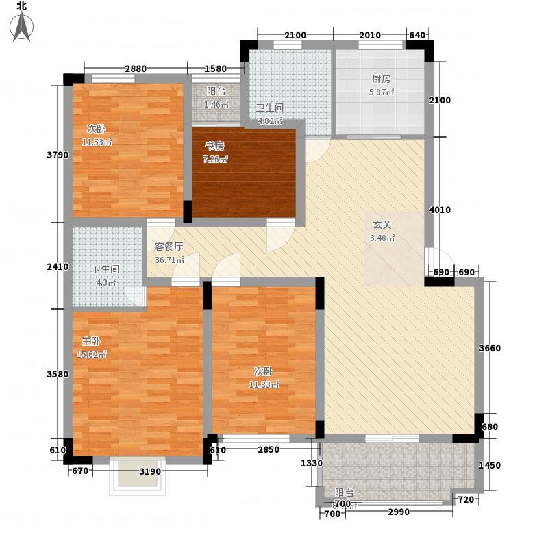 正阳水岸城邦122.40㎡E1E2户型4室2厅2卫1厨