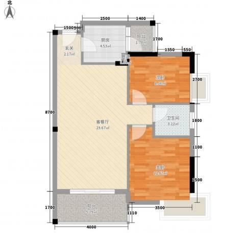 四季豪园2室1厅1卫1厨122.00㎡户型图