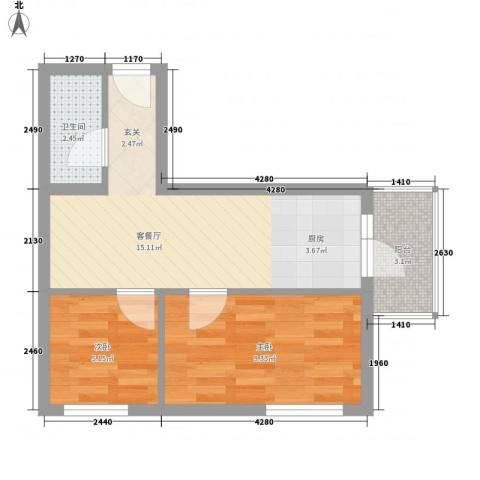 穆家新区2室1厅1卫0厨45.00㎡户型图