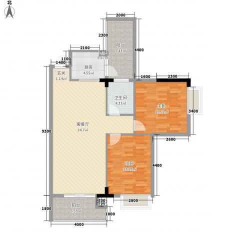 三正世纪新城2室1厅1卫1厨97.00㎡户型图