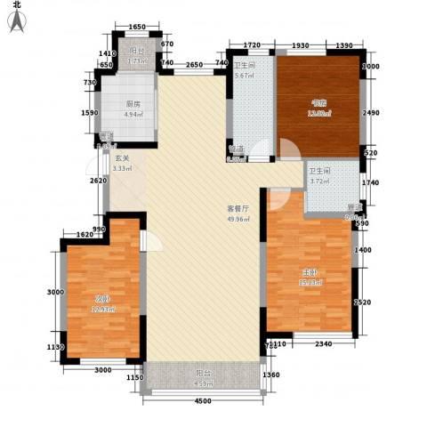 一品红城五期3室1厅2卫1厨135.00㎡户型图