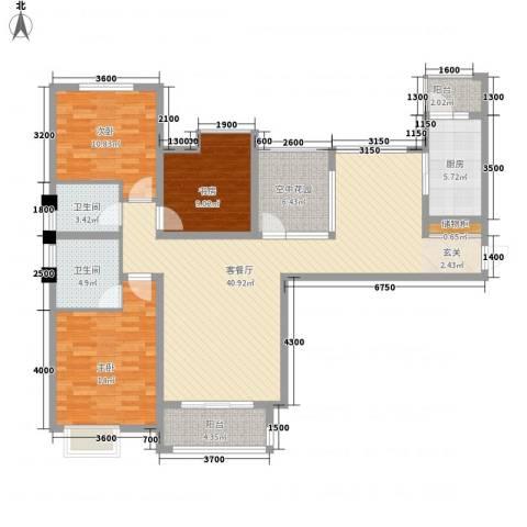 御园温泉小区3室1厅2卫1厨102.23㎡户型图