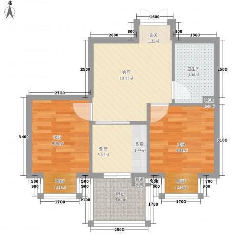 和兴名家2室2厅1卫0厨64.00㎡户型图