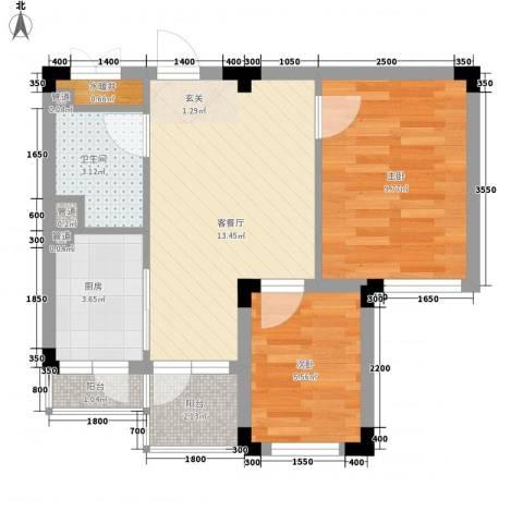 金连领地2室1厅1卫1厨57.00㎡户型图