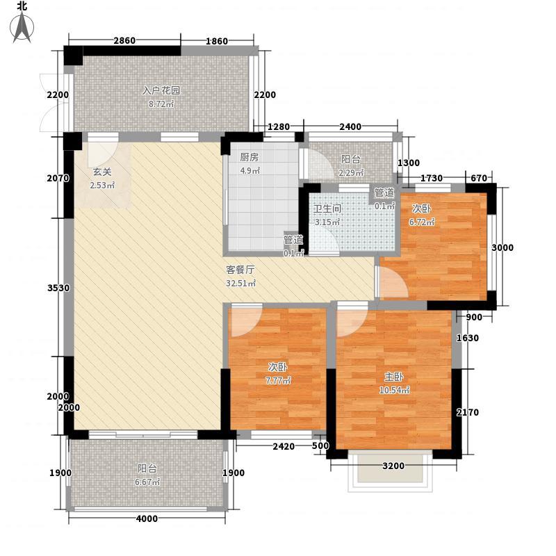 山水凯旋花园B1户型3室2厅1卫1厨