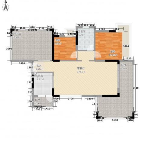 丰泰观山碧水・凌峰2室1厅1卫1厨147.00㎡户型图