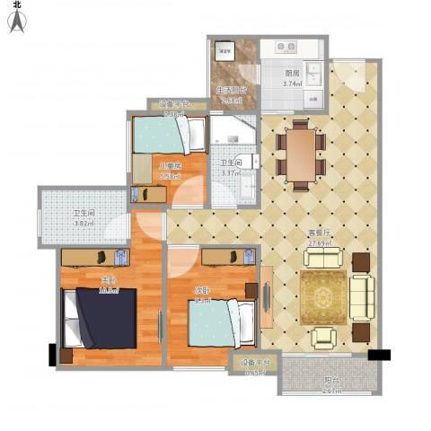 华润城3室1厅2卫1厨96.00㎡户型图
