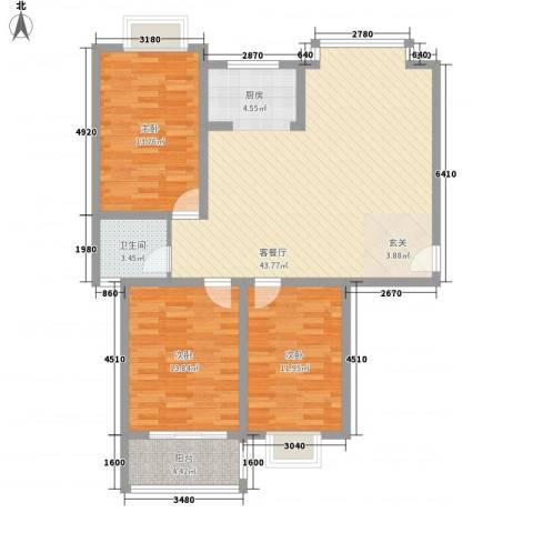 随园锦湖公寓3室1厅1卫0厨128.00㎡户型图