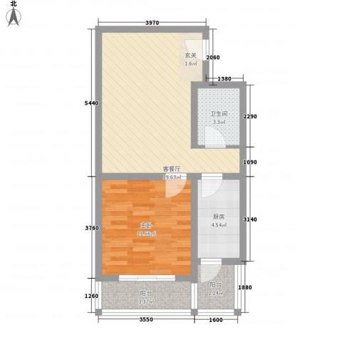 馨港庄园1室1厅1卫1厨66.00㎡户型图