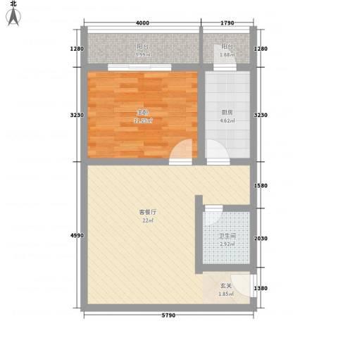 馨港庄园1室1厅1卫1厨69.00㎡户型图