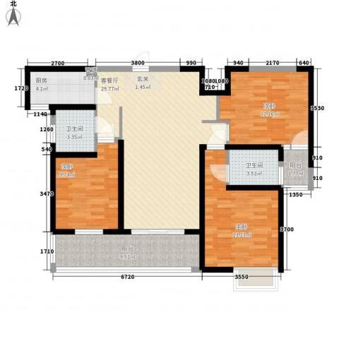 东方今典3室1厅2卫1厨126.00㎡户型图