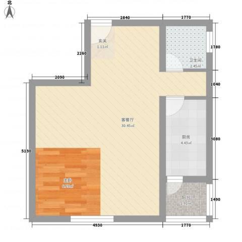馨港庄园1厅1卫1厨56.00㎡户型图