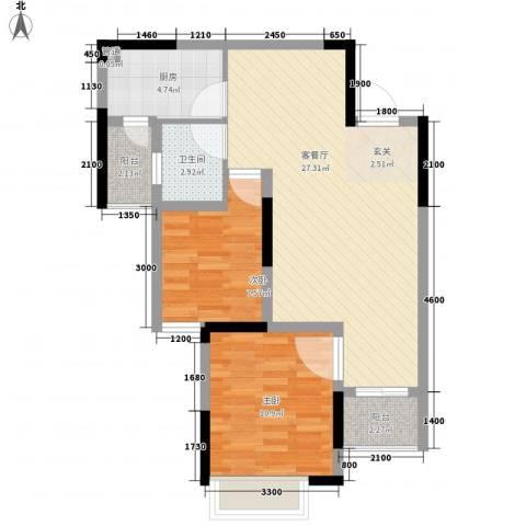 长欣中央广场2室1厅1卫1厨57.89㎡户型图