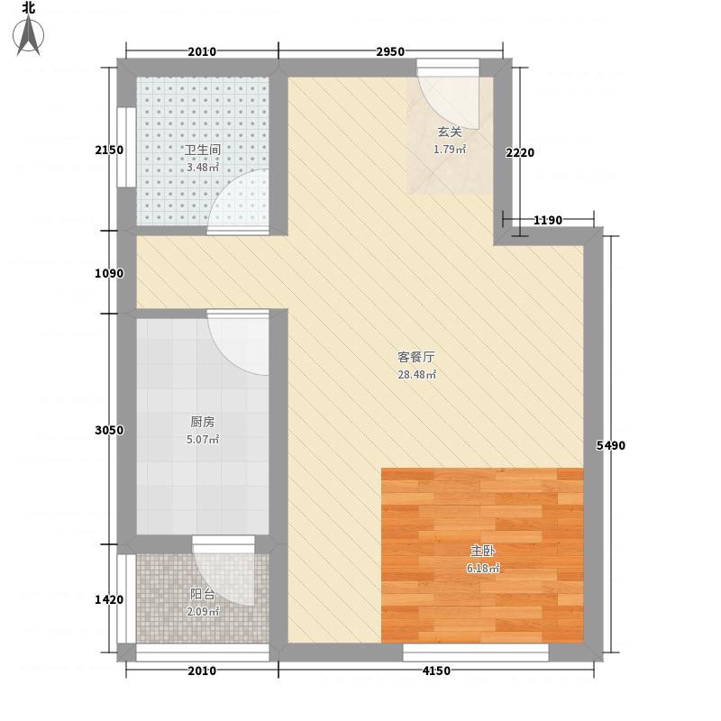 馨港庄园56.00㎡A'户型1室1厅1卫1厨
