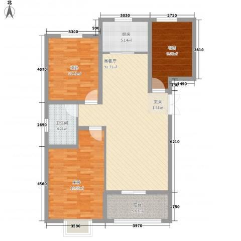 居然青年城3室1厅1卫1厨114.00㎡户型图