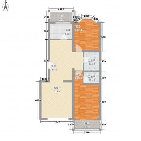 馨港庄园2室1厅2卫1厨111.00㎡户型图