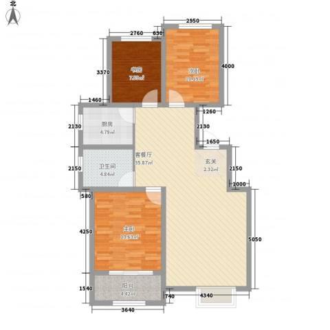 居然青年城3室1厅1卫1厨81.62㎡户型图