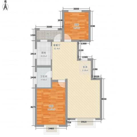 居然青年城2室1厅1卫1厨89.00㎡户型图