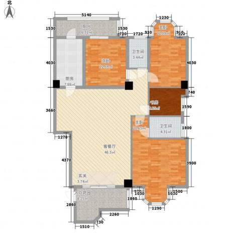 东逸翠苑4室1厅2卫1厨144.88㎡户型图