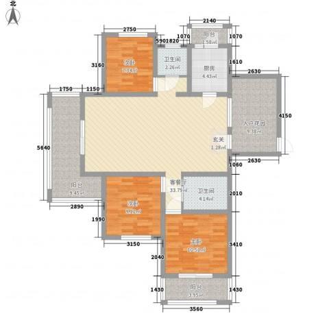 东方今典3室1厅2卫1厨140.00㎡户型图