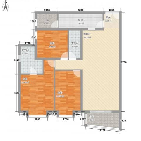 永德苑3室1厅2卫1厨157.00㎡户型图