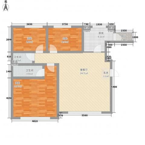 青橙部落3室1厅2卫1厨126.00㎡户型图