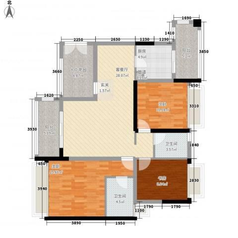 金色家园3室1厅2卫1厨134.00㎡户型图