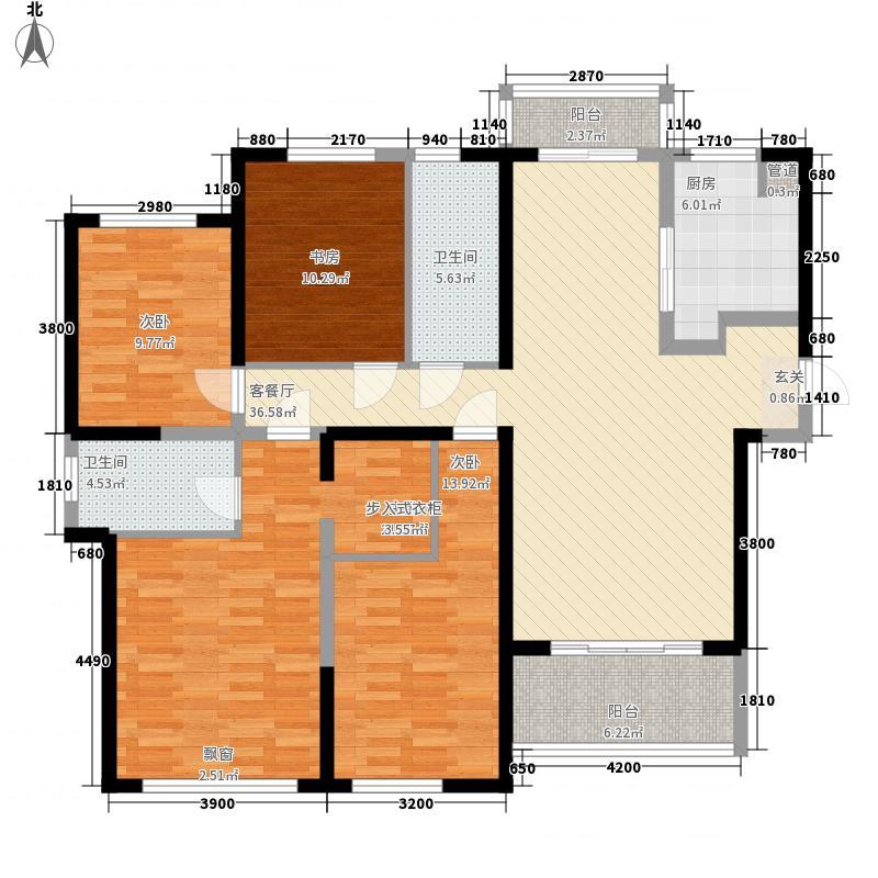 复地金融岛14.00㎡一期标准层B户型4室2厅2卫1厨
