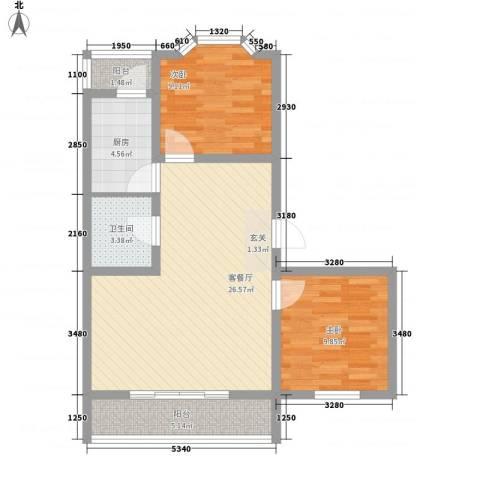 馨港庄园2室1厅1卫1厨88.00㎡户型图