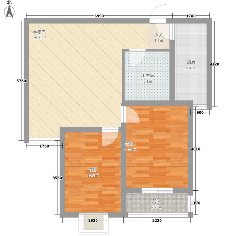 港丽城88.66㎡港丽城户型图两室一厅2室1厅1卫1厨户型2室1厅1卫1厨
