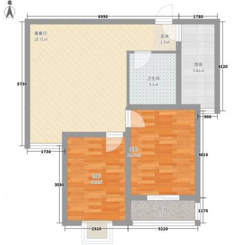 港丽城2室1厅1卫1厨89.00㎡户型图