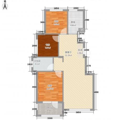 易和岭秀滨城3室1厅1卫1厨91.00㎡户型图