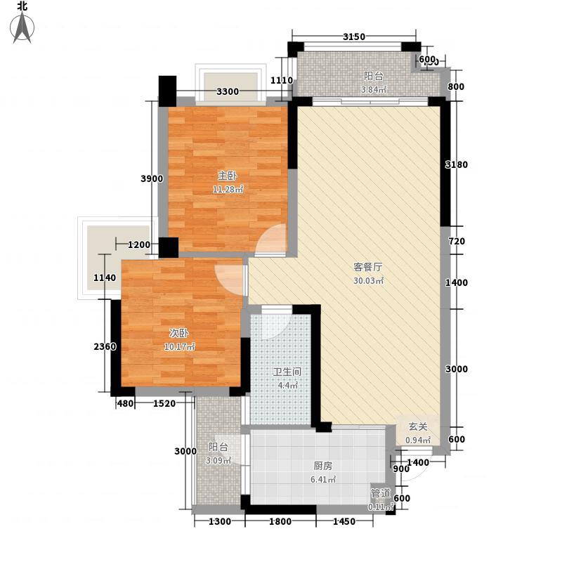 中铁瑞景茗城8.00㎡A2型户型2室2厅1卫1厨