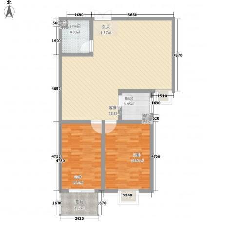百家新城2室1厅1卫1厨108.00㎡户型图