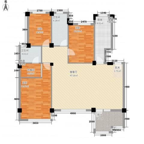 言论小区3室1厅2卫1厨159.00㎡户型图