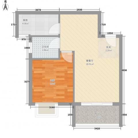 丽苑商住1室1厅1卫1厨60.00㎡户型图