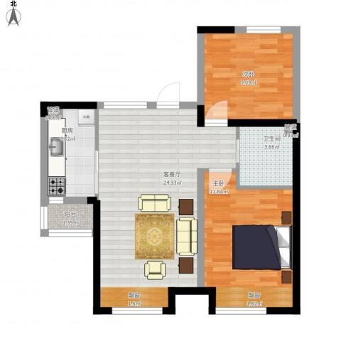 华府丹郡2室1厅1卫1厨80.00㎡户型图