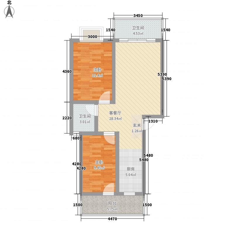 开元尚居2居户型2室2厅2卫1厨